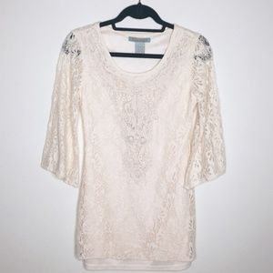 Flying Tomato | Lace Bell Sleeve Tunic Blouse